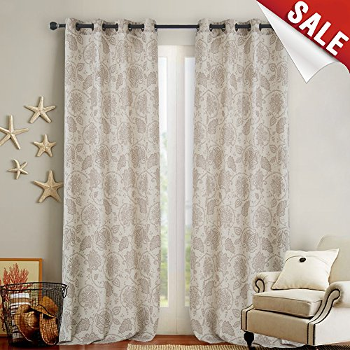 Paisley Scroll Printed Linen Curtains Grommet Top - Medallion Design Burlap Vintage Jacobean Floral Living Room Window Panels (Taupe, 50
