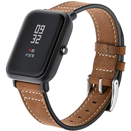 Zolimx Cuero Genuino Reloj Banda Pulsera Correas para Xiaomi Huami Amazfit Bip Youth Inteligente Watch (