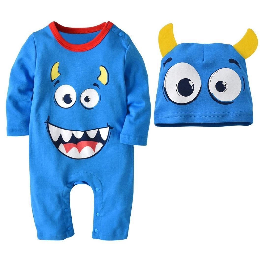Jchen(TM) Hot Sales! for 0-24 Months 2PCS Halloween Baby Boys Girls Cartoon Print Romper Jumpsuit+Hat Set Outfit (Age: 18-24 Months)