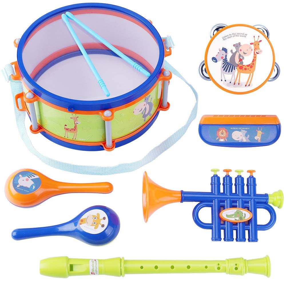 iPlay, iLearn Toddler Musical Instruments Toys, Kids Drum Set, Percussion, Tambourine, Trumpet, Maraca, Harmonica, Flute, Learning Gift for 18 Month 2 3 4 5 Year Olds Baby Boys Girls Children (Blue) by iPlay, iLearn