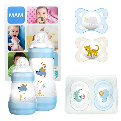 MAM First Steps Set, regalos para bebé (+0), canastilla con 2 biberones anticólicos Easy Start (160/260 ml) y 4 chupetes Original de silicona (2 x ...