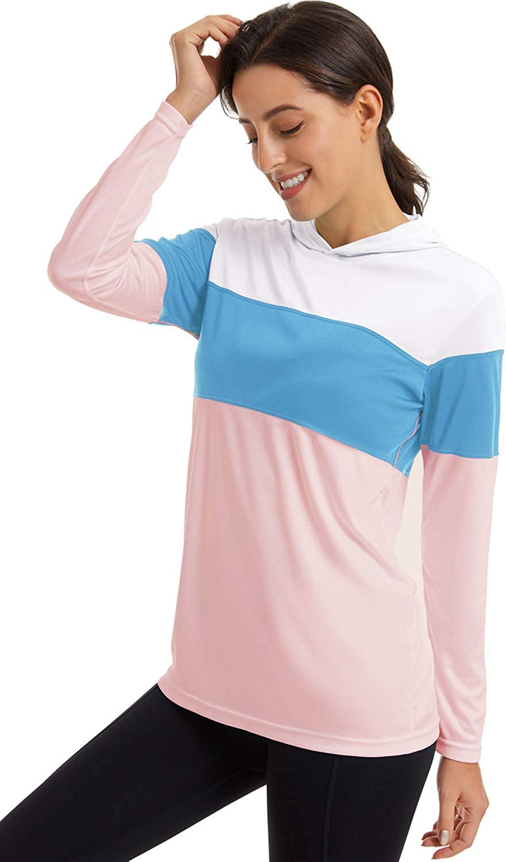 FANGJIN Womens SPF 50+ Uv Sun Protection Hoodie Color Block Outdoor Hiking top Pink