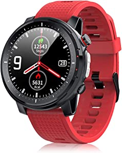Smart Watch for Android Phones iOS Phones Smartwatches for Men with Heart Rate Monitor Blood Pressure Blood Oxygen Monitor Waterproof Touch-Screen Watch Red Smartwatch for Women