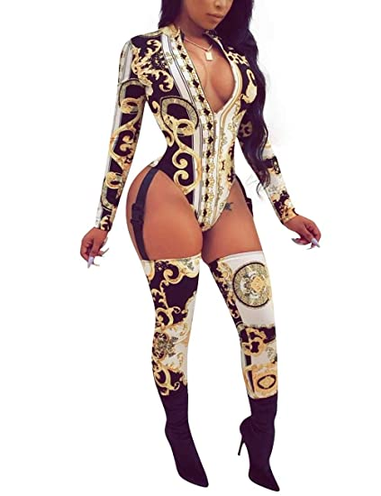 27524836c240e Angsuttc Women Sexy Chain Print Hollow Out Long Sleeve Zip Up Bodycon  Jumpsuit Clubwear