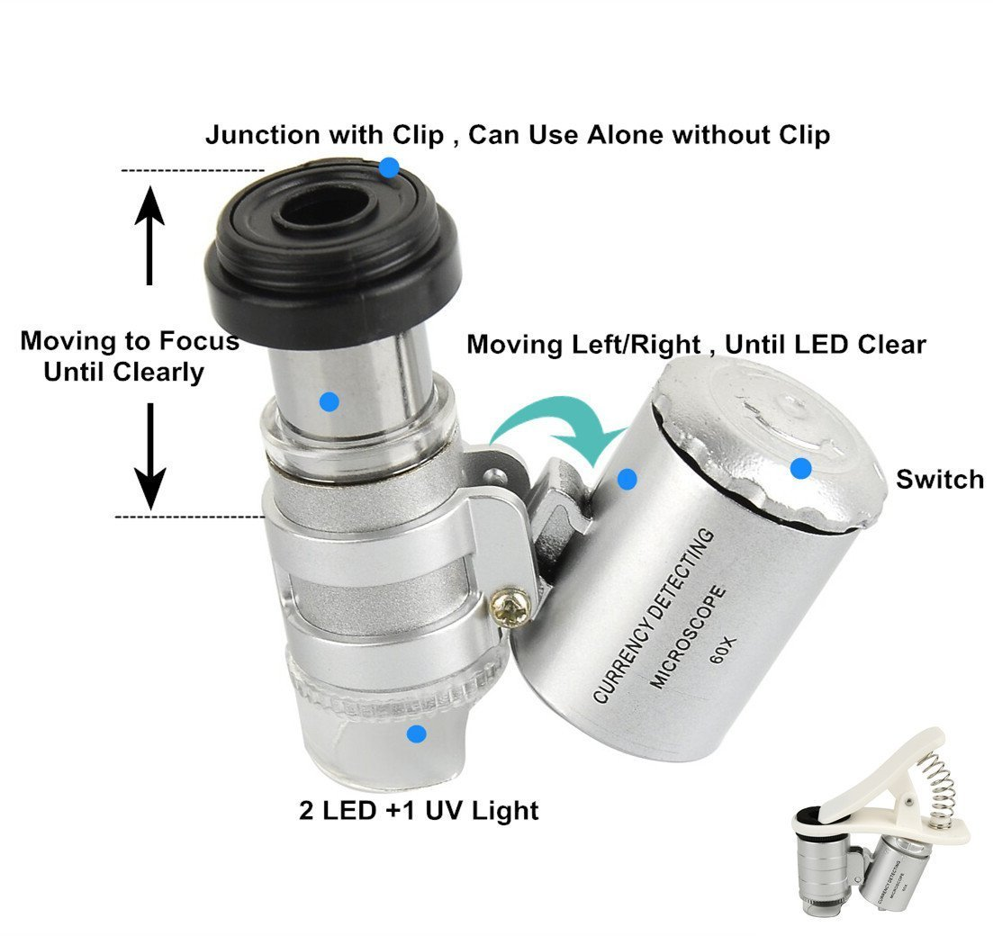 TOCHIC Mini 60X Microscope LED Magnifier Lens for iphone8