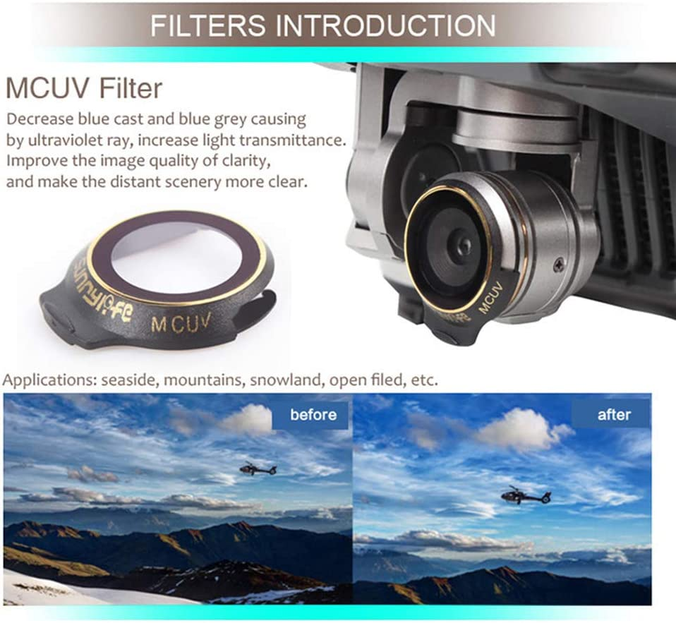 Drone Lens Parts for DJI Mavic Pro Professional//Platinum Neutral Density Lens Filter UV+CPL+ND4+ND8+ND16+ND32 Filter Drone Sunhood Accessories