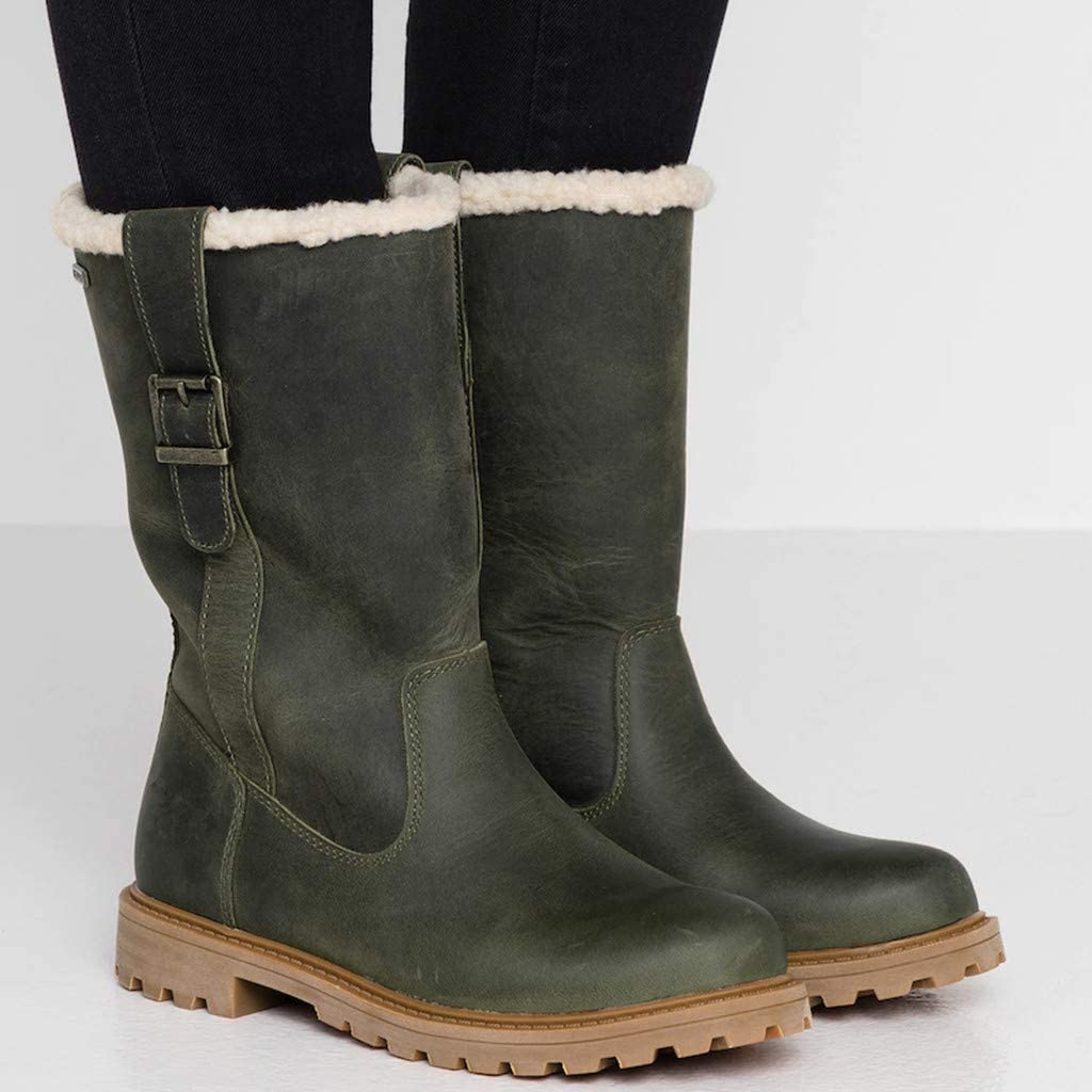 Women Vintage Winter Mid Calf Boots Warm Faux Fur Lined Outdoor Water-Resistant Boot Shoes