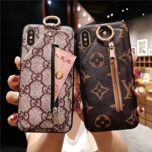 iPhoen Xs Max Case, Light Brown Case with Zipper Luxury Vintage Designer Monogram TPU & Leather Back Case for iPhone Xs Max