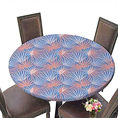 """Everyday Kitchen Tablecloth (Elastic Edge) suitable for all occasions, (29.5""""round)Tropical Soft Pastel Toned Palm Tree Leaf Pattern Exotic Paradise Plants Illustration Light Blue Coral."""