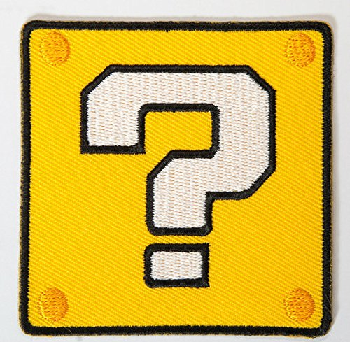 Coin Block ? Patch Yellow Box Embroidered Iron on Badge Applique Costume Cosplay Mario Kart / Snes / Mario World / Super Mario Brothers / Mario