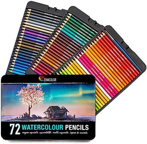 Set de Crayons de Couleur Aquarelle Numérotés avec Pinceau dans Boite Métal Zenacolor Uniques et Différents 72 Crayon de Couleurs Solubles Coloriage Adulte et Artistes BMS International 72 Crayons Aquarellables