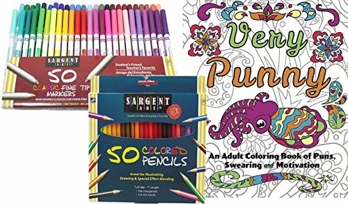 Unique Funny Gift - Very Punny: An Adult Coloring Book of Puns, Swearing & Motivation, 50 Sargent Colored Pencils & 50 Fine Tip Markers for Women and Men - Color & Laugh Your Way to Less Stress!