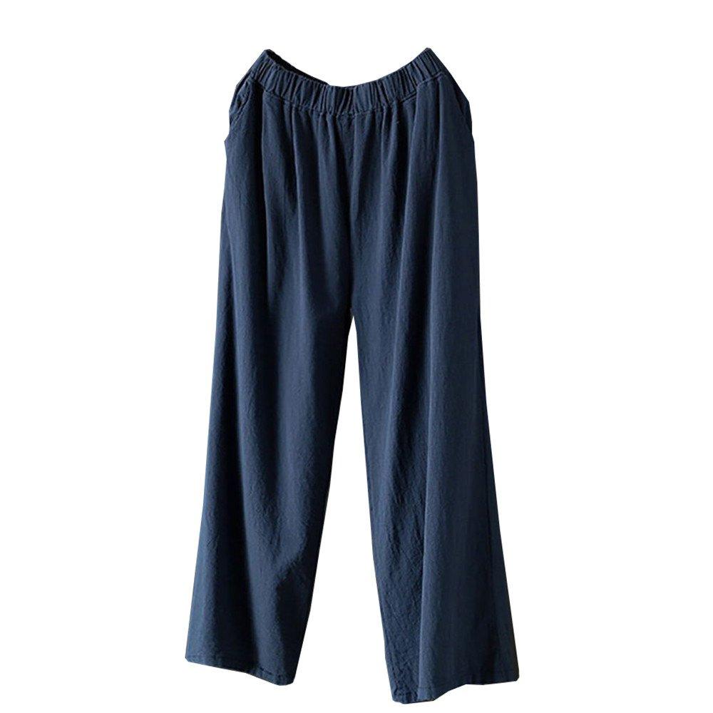Women Sport Casual Pants,Jchen(TM) Women Palazzo High Waist Wide Leg Culottes Cotton Linen Loose Casual Pants (XL, Navy)