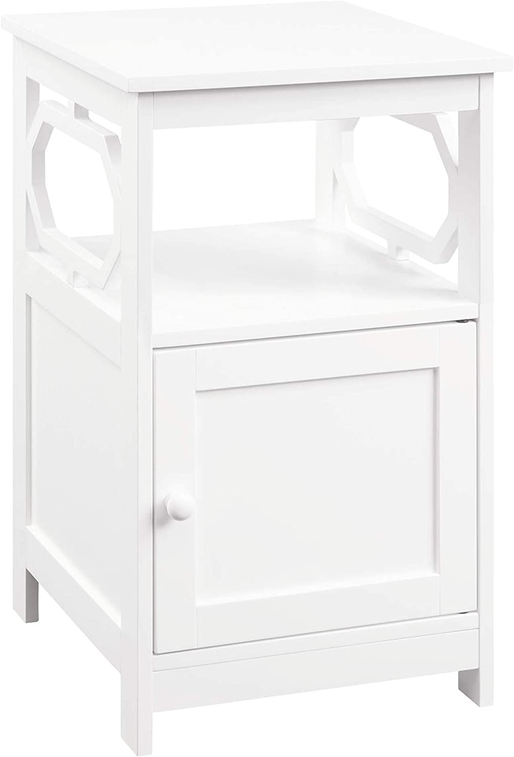 Convenience Concepts Omega End Table with Cabinet, White
