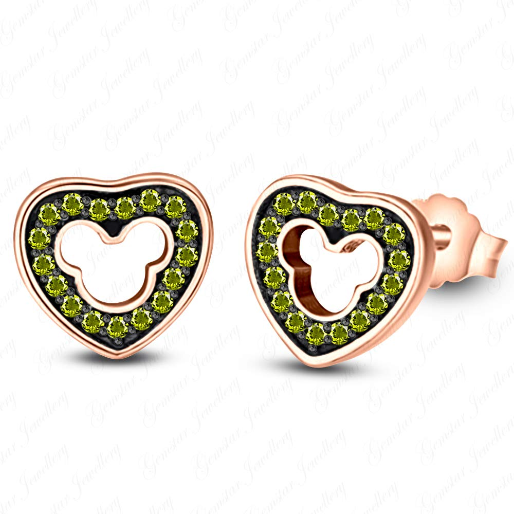 Gemstar Jewellery Heart Cut Green Peridot 18K White Gold Finish Screw Back Engagement Solitaire Earrings