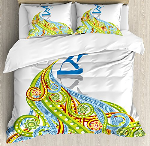 Ancient Egyptian Crown (Egyptian Decor Duvet Cover Set by Ambesonne, Contemporary Illustration of Ancient Egyptian Woman Pharaoh with Her Crown Historical Queen, 3 Piece Bedding Set with Pillow Shams, Queen / Full, Multi)