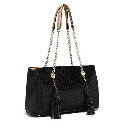 9cba453f8e82 Miss Lulu Block Design Tassel Shoulder Bag Pu Leather Chain Women Handbags  with Front M Logo