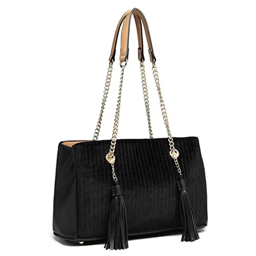 77f0ccbce608 Miss Lulu Block Design Tassel Shoulder Bag Pu Leather Chain Women Handbags  with Front M Logo