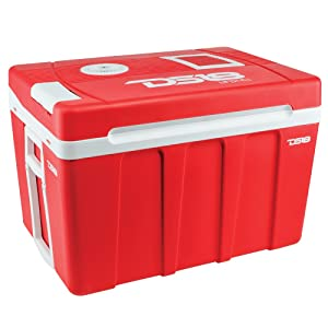 DS18 Coolbox50 Electric Cooler/Warmer for Car and Home with Wheels, 52.8 Quart (50 Liter) - Dual 110 AC House and 12V DC Vehicle Plugs, Travel Thermoelectric Cooler (Red)