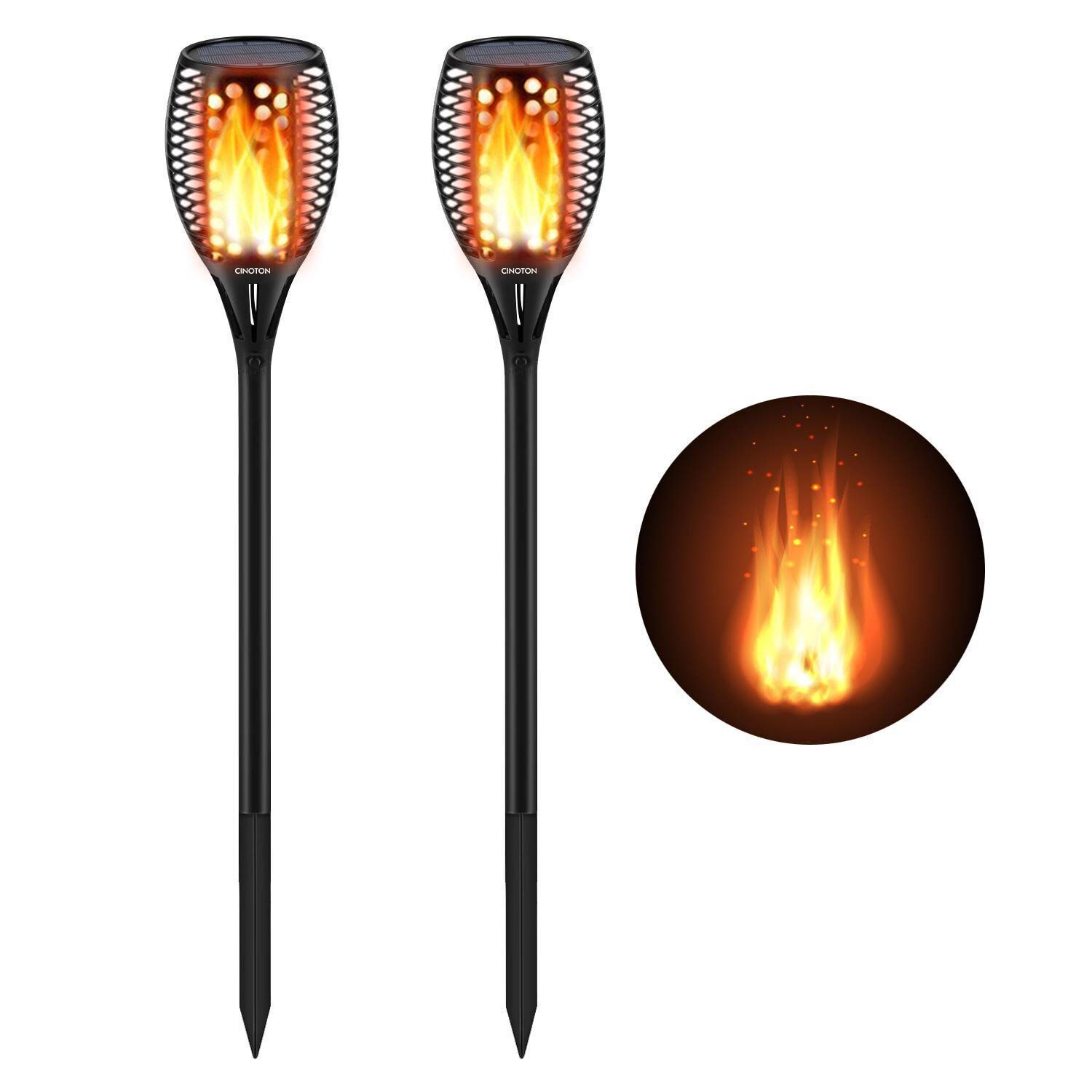 Cinoton Solar Light,Path Torches Dancing Flame Lighting 96 LED Dusk to Dawn Flickering Torches Outdoor Waterproof garden decorations