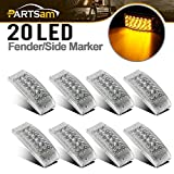 "Partsam 8X Clear Lens Amber Led Marker Trailer Light 6"" x 2"", Trailer Turn Signal and Parking Light 20 Diodes, 2x6 Sealed Rectangular Rectangle Led Truck Trailer Side Marker Lights"