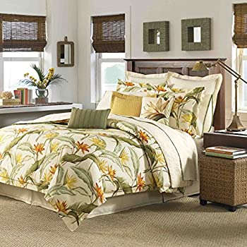 Image of 4 Piece King, Mid-Century Coastal Leaf Pattern Comforter Set, Traditional Modern, Novelty Floral Design, Transitional Nature Nautical Textured Themed, Reversible Bedding, Adorable Green, Multi Color
