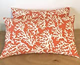 Set of 2- Indoor/Outdoor- Rectangle/Lumbar Throw/Toss Pillow- Coral and White Reef — Choose Size (11″ x 19″) For Sale