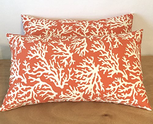 Set of 2- Indoor/Outdoor- Rectangle/Lumbar Throw/Toss Pillow- Coral and White Reef -- Choose Size (11