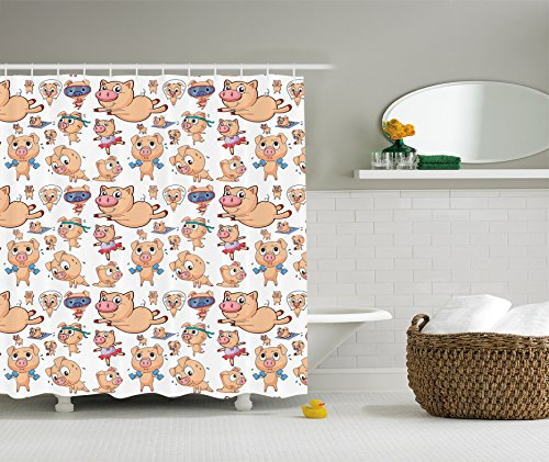 Ambesonne Pig Decor Collection, Different Actions Pigs Dancing Ballet Exercising Weight Lifting Running Skipping Image, Polyester Fabric Bathroom Shower Curtain, Sandy Red - Shower Curtain Pigs