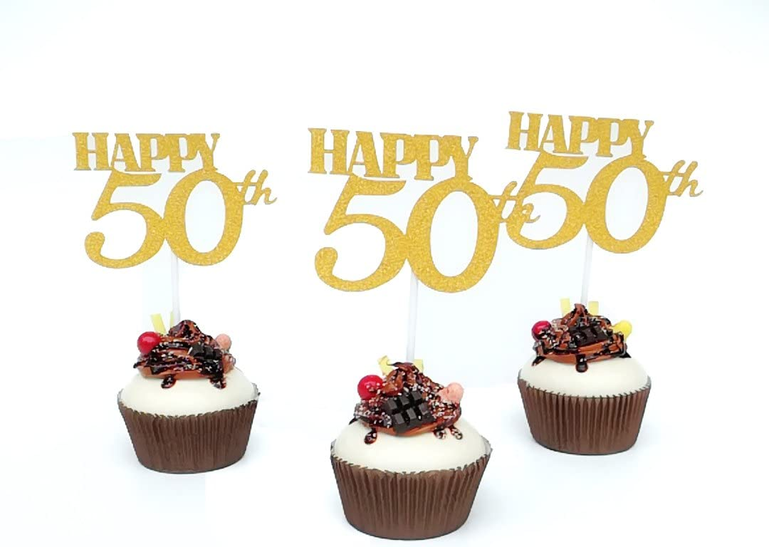 """Set of 12""""Happy 50th"""" Cupcake Topper, Set of 12 Golden Glitter Cupcake Toppers -Cupcake Topper Birthday Decoration"""