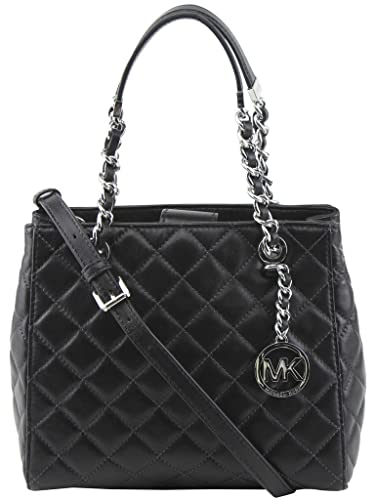 01b10586c6 Michael Kors Susannah Small North South Tote Quilted Leather Black Silver