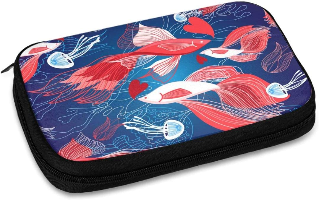 Abstract Deep Sea Animals Travel Organizer Bag for Cable Storage Phone USB Sd Card Charger Hard Drives Fish Jellyfish