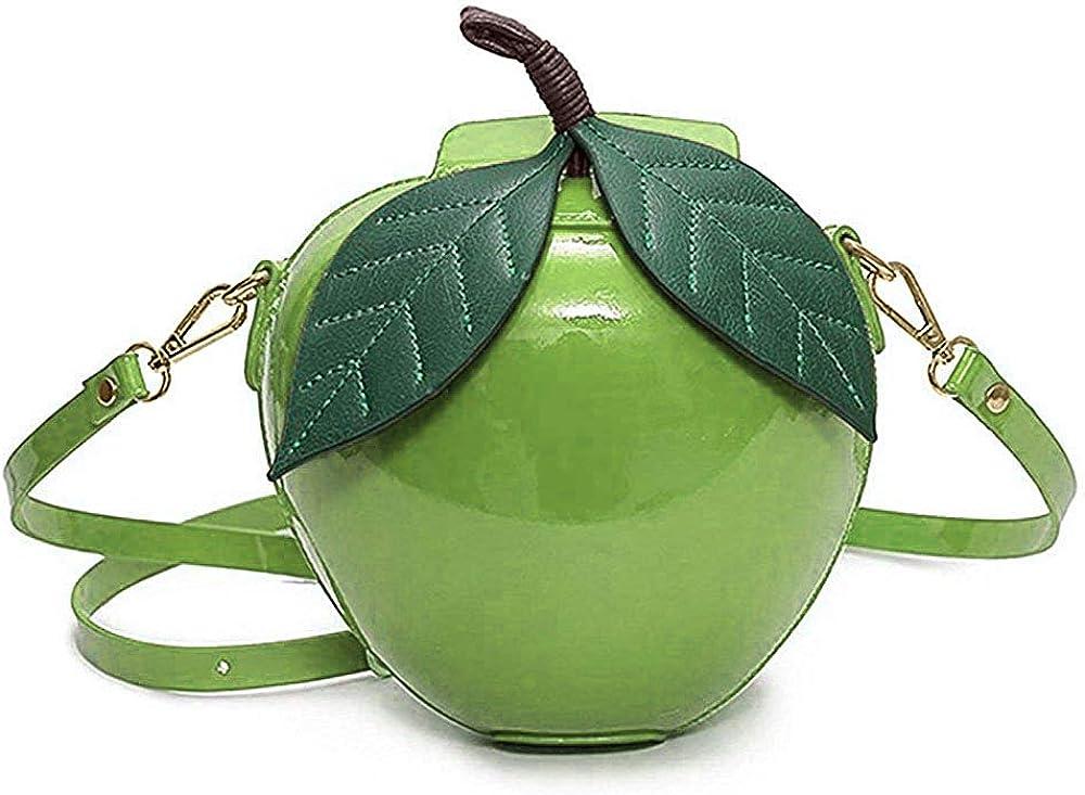 Fashion Apple Shape PU Leather Handbag Cartoon Shoulder Bags Purse - Red/Green