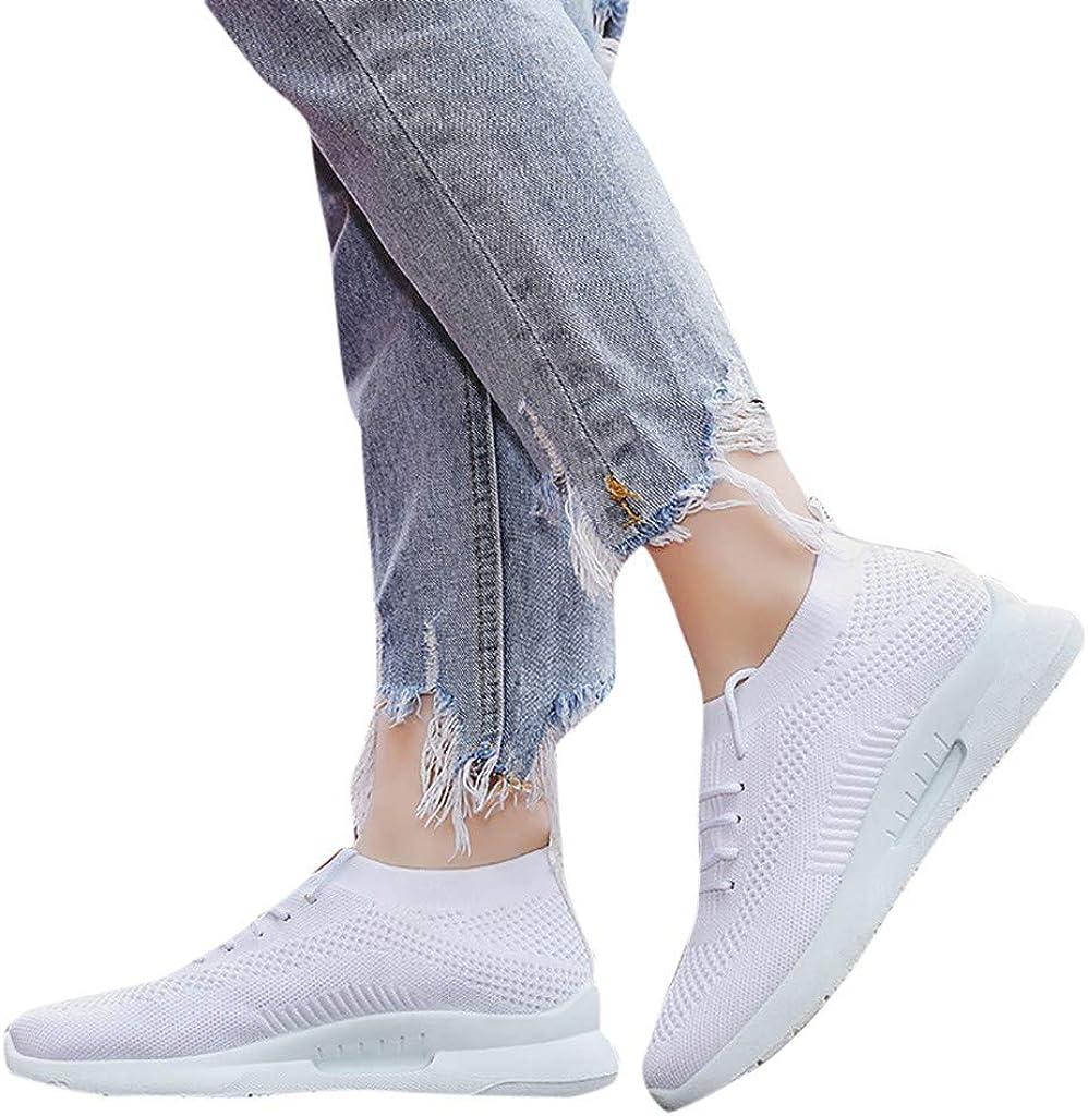 KEYIA Femme Baskets Mode Tricot de Course Respirant Couleur Unie Classic Sneakers Basses Mesh Chaussures Sports Blanc