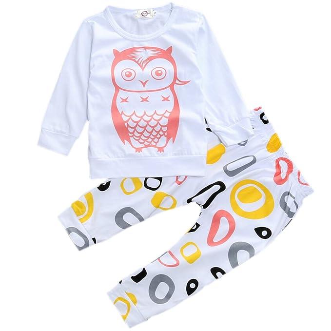 Ropa de Bebé Mameluco Bebé Niño Recién Nacidos Búhos Patrones Geométricos Camiseta + Pantalones (Tamaño