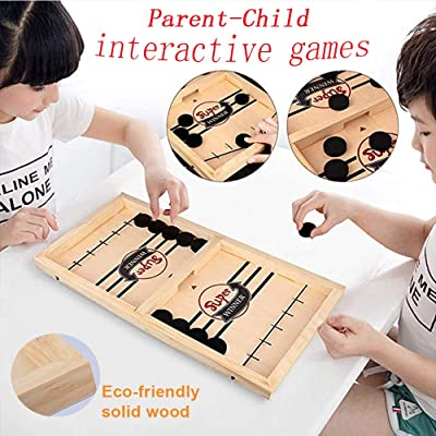 moopok Slingshot Table Hockey Party Game, Bouncing Chess Hockey Game, Table Desktop Battle 2 in 1 Ice Hockey Game, Winner Board Games Toys for Parent-Child (14.6x9.5x1.4in): Toys & Games