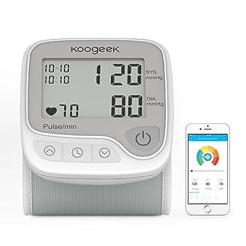 a0b5b2840e06c Koogeek Tensiómetro de Muñeca Digital Monitor de Presión Arterial Bluetooth  Medir la Frecuencia Cardíaca Función de Memoria con Gran LCD Pantalla para  IOS y ...