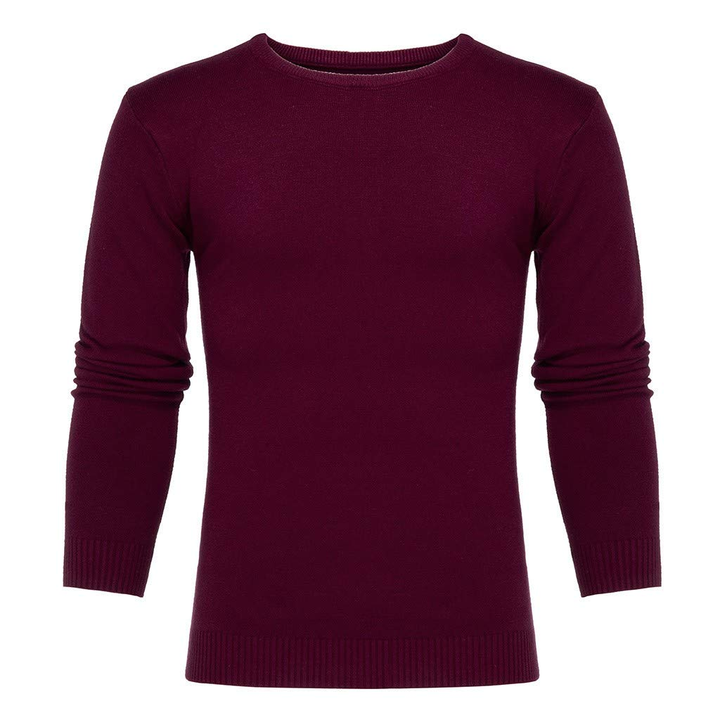 Beautyfine Mens Long Sleeve Knitted Sweater Bottoming Shirt Tops Autumn Winter Casual Pure Color O-Neck