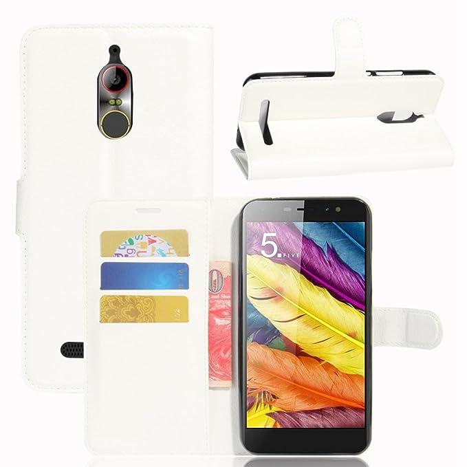 Guran® Funda de Cuero PU Para ZTE Nubia N1 Lite Smartphone Función de Soporte con Ranura para Tarjetas Flip Case Cover Caso-blanco