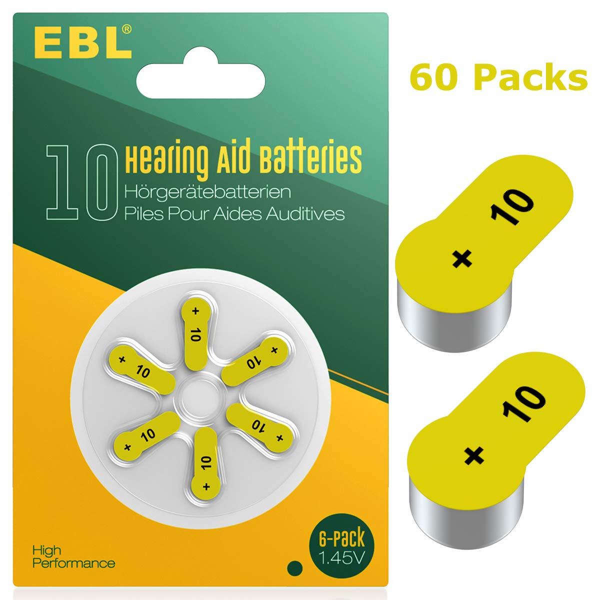 EBL Size 10 PR70 Hearing Aid Batteries 60 Pack 1.45V Zinc-Air Battery by EBL