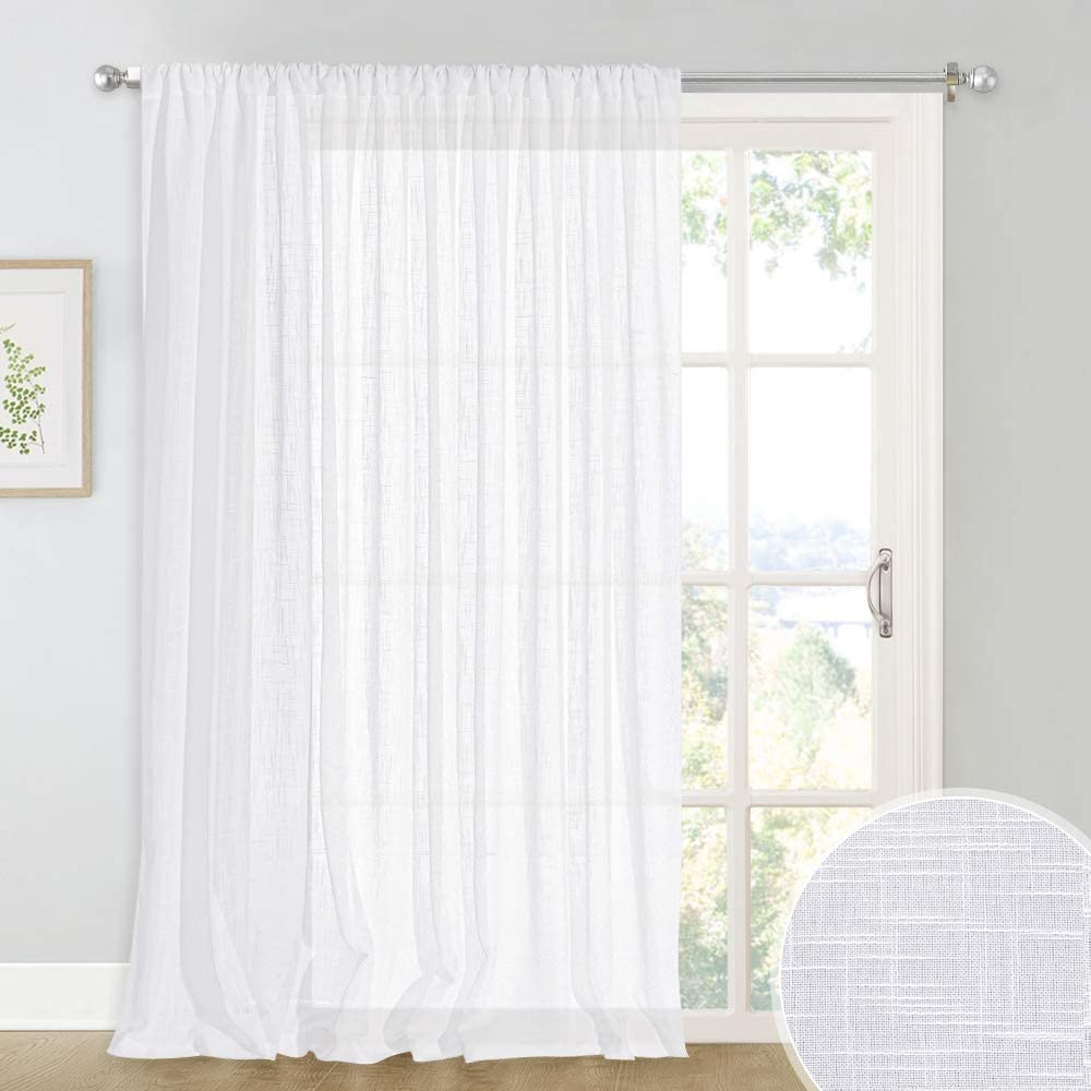 RYB HOME Semi Sheer Privacy Curtains for Patio Sliding Glass Door, Privacy Light Filter Drapery for Door Bathroom Closet Cabin Foyer Window Decor, White, 100 x 84 inches, 1 Panel
