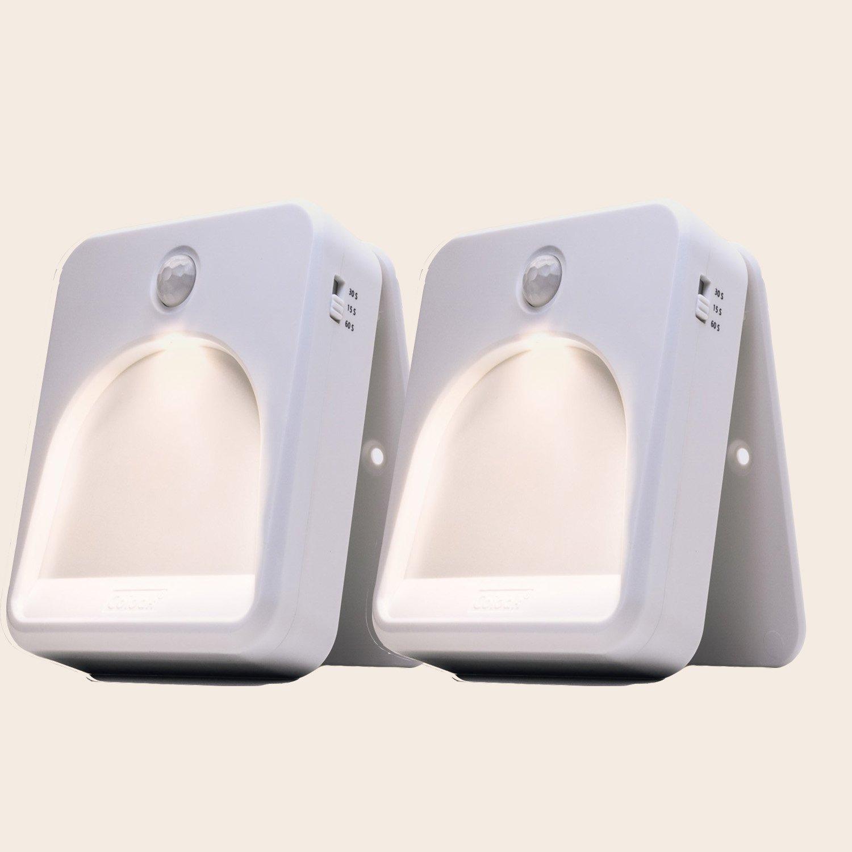 省エネモーションセンサーLEDナイトライト、warm-coolホワイト色温度2pcs B078TK6MHH 14532