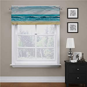 Youdeem-home Ocean Kitchen Valances for Windows Summer Seaon with Sandy Beach – Top Tier Curtain for Cafe Store 1 pc Rod Pocket, 54 x 18 inch