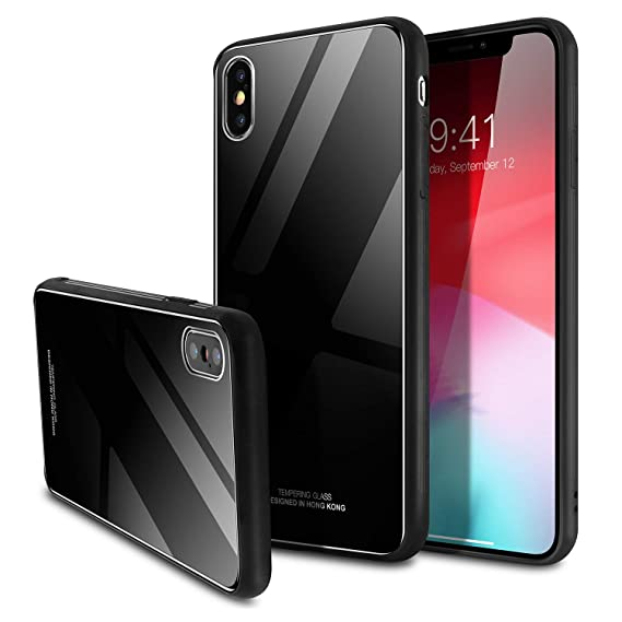 official photos 987d2 6656b iPhone Xs Max Case,SQMCase 9H Tempered Glass Back Slim Fit Scratch  Resistant Protective Cover with Soft TPU Bumper Frame for Apple iPhone Xs  Max ...
