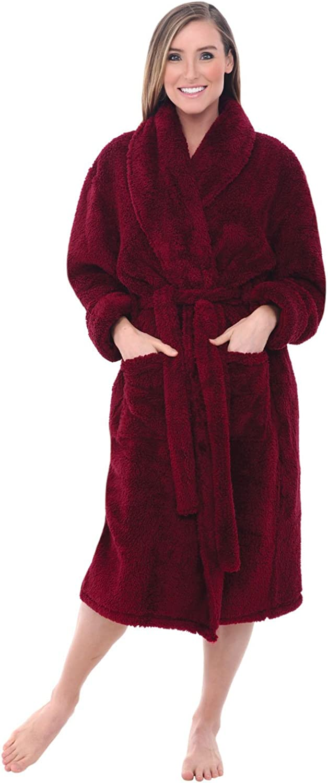 Warm Long Hair Shaggy Bathrobe Alexander Del Rossa Womens Plush Fleece Robe