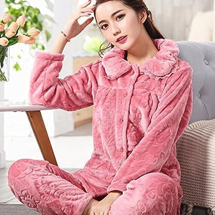 MH-RITA Pijama mujer otoño e invierno engrosamiento, pijamas de franela manga larga,