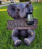 SOLAR ELEPHANT WITH WELCOME SIGN STATUE