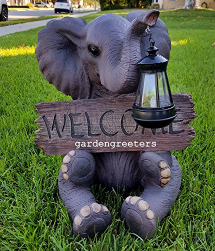 SOLAR ELEPHANT WITH WELCOME SIGN STATUE by Gardengreetersllc