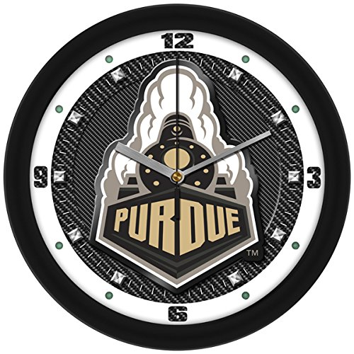 SunTime NCAA Purdue Boilermakers Textured Carbon Fiber Wall Clock ()