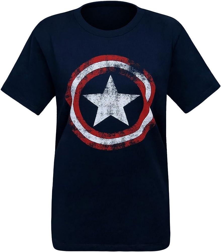 Captain america Apenada del símbolo de la camiseta-Clas azul de las mujeres: Amazon.es: Ropa y accesorios